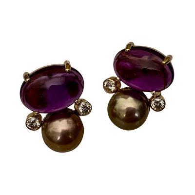 Michael Kneebone Michael Kneebone Cabochon Amethyst Diamond Lavender Pearl Button Earrings