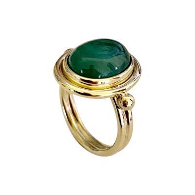Michael Kneebone Michael Kneebone Cabochon Emerald 18k Gold Archaic Style Ring