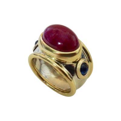 Michael Kneebone Michael Kneebone Cabochon Ruby Blue Sapphire Two Tone Bombe Ring