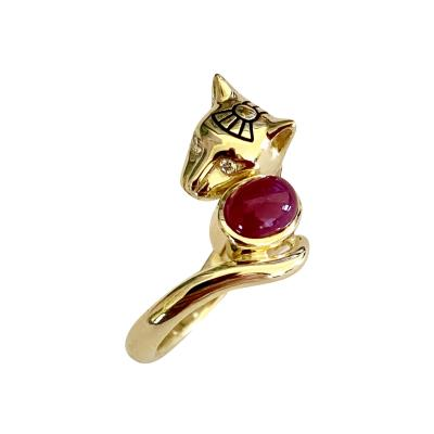 Michael Kneebone Michael Kneebone Cabochon Ruby Diamond Egyptian Revival Cat Ring