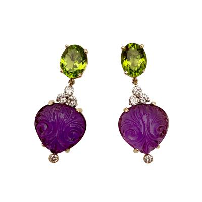 Michael Kneebone Michael Kneebone Carved Amethyst Peridot Diamond Dangle Earrings