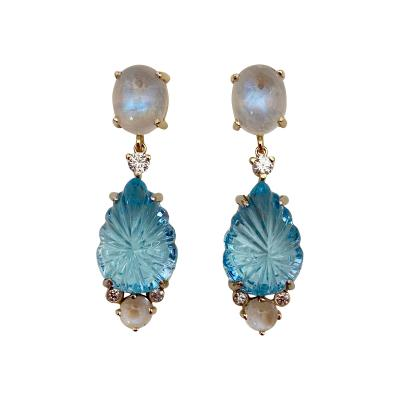 Michael Kneebone Michael Kneebone Carved Blue Topaz Moonstone Diamond Dangle Earrings