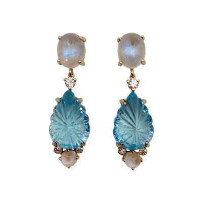 Michael Kneebone Michael Kneebone Carved Blue Topaz Moonstone Diamond Dangle Earrings