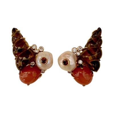 Michael Kneebone Michael Kneebone Carved Citrine Orange Moonstone Diamond Cluster Earrings
