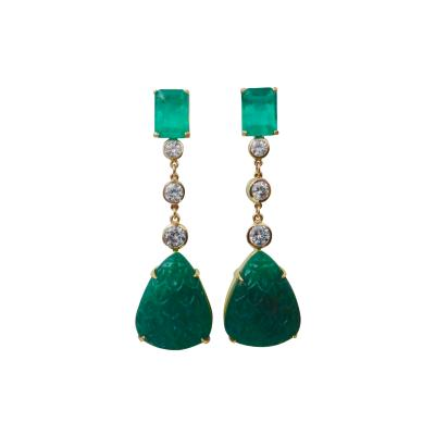 Michael Kneebone Michael Kneebone Carved Emerald and White Diamond Dangle Earrings