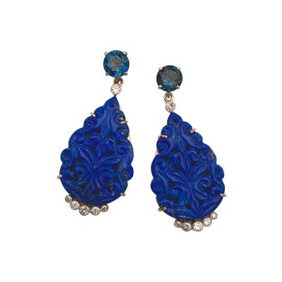Michael Kneebone Michael Kneebone Carved Lapis Lazuli Blue Topaz Diamond Dangle Earrings