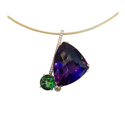 Michael Kneebone Michael Kneebone Checkerboard Cut Amethyst Green Topaz Diamond Pendant