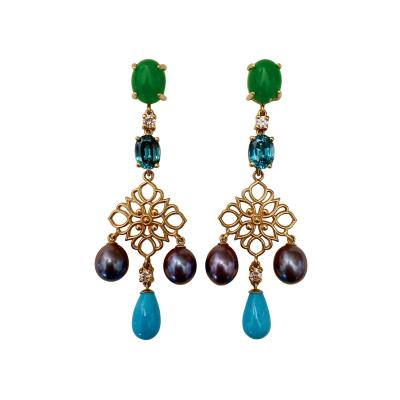 Michael Kneebone Michael Kneebone Chrysoprase Zircon Diamond Pearl Turquoise Dangle Earrings