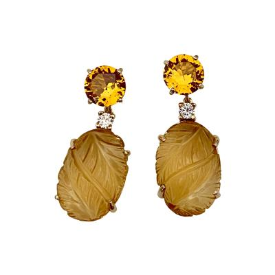 Michael Kneebone Michael Kneebone Citrine Carved Citrine White Diamond Dangle Earrings