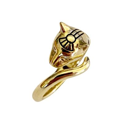 Michael Kneebone Michael Kneebone Diamond 18K Gold Egyptian Revival Cat Ring