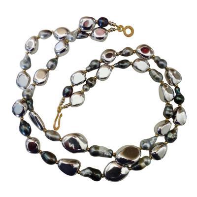 Michael Kneebone Michael Kneebone Double Strand Baroque Tahitian Pearl Pebble Bead Necklace