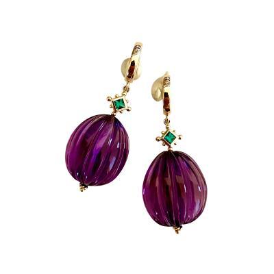 Michael Kneebone Michael Kneebone Emerald Amethyst Melon Carved Dangle Earrings