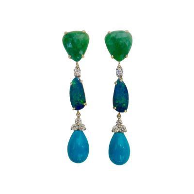 Michael Kneebone Michael Kneebone Emerald Boulder Opal Sleeping Beauty Turquoise Dangle Earrings