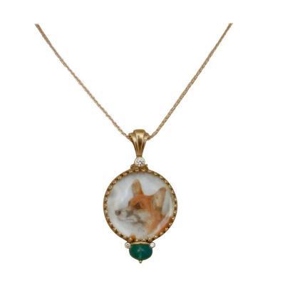 Michael Kneebone Michael Kneebone Emerald Diamond Gold Welsh Corgi Portrait Pendant