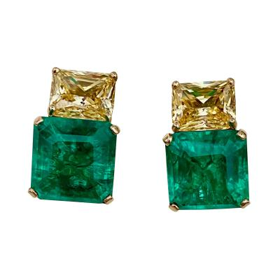 Michael Kneebone Michael Kneebone Emerald Yellow Sapphire Deux Gemme Earrings