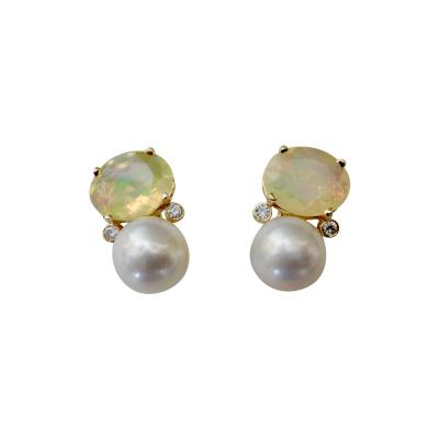 Michael Kneebone Michael Kneebone Ethiopian Opal White Diamond Cultured Pearl Earrings