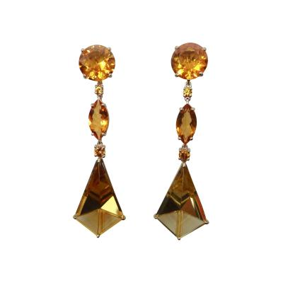 Michael Kneebone Michael Kneebone Fantasy Cut Citrine Yellow Sapphire Dangle Earrings