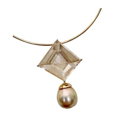 Michael Kneebone Michael Kneebone Fantasy Cut Rutile Quartz Golden South Seas Pearl Pendant