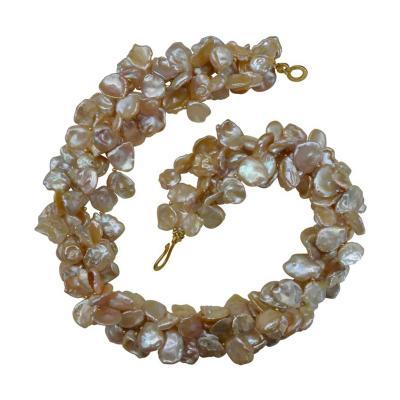Michael Kneebone Michael Kneebone Four Strand Petal Pearl Gold Bead Torsade Necklace