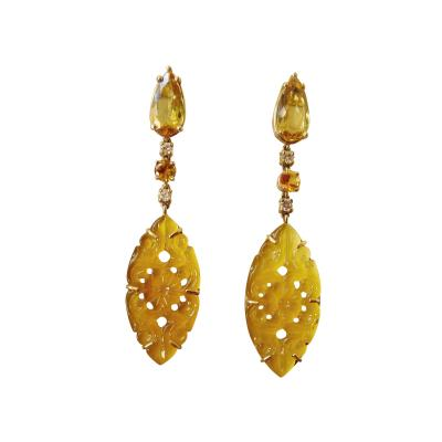 Michael Kneebone Michael Kneebone Golden Beryl Yellow Sapphire Yellow Onyx Gold Dangle Earrings