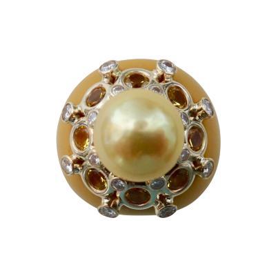 Michael Kneebone Michael Kneebone Golden South Seas Pearl Sapphire Diamond Bakelite Cocktail Ring