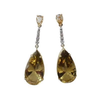 Michael Kneebone Michael Kneebone Golden Zircon Diamond Lemon Citrine Dangle Earrings
