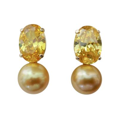 Michael Kneebone Michael Kneebone Golden Zircon Golden South Seas Pearl Drop Earrings