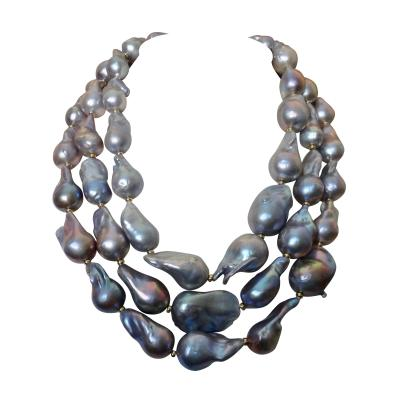 Michael Kneebone Michael Kneebone Gray Cloud Pearl Triple Strand Baroque Pearl Necklace