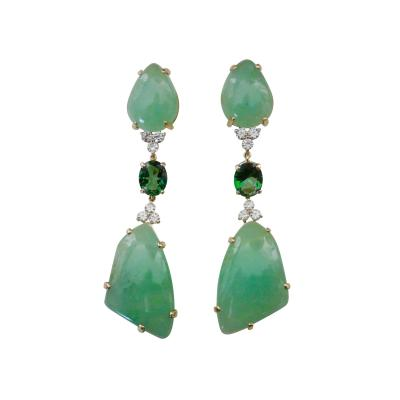 Michael Kneebone Michael Kneebone Green Beryl Green Topaz Diamond Dangle Earrings