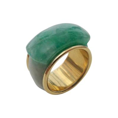 Michael Kneebone Michael Kneebone Green Burmese Jadeite 18k Gold Saddle Ring