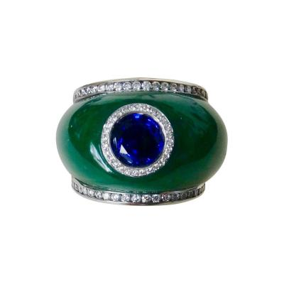Michael Kneebone Michael Kneebone Green Jadeite Blue Sapphire Diamond Bombe Ring