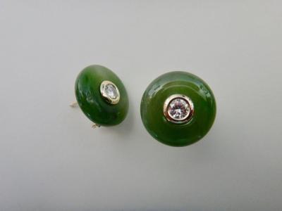 Michael Kneebone Michael Kneebone Green Jadeite White Diamond Stud Earrings