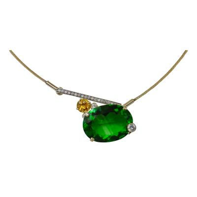 Michael Kneebone Michael Kneebone Green Moldavite Yellow Sapphire Diamond Necklace