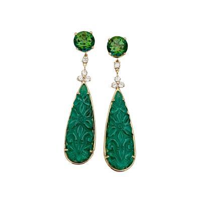 Michael Kneebone Michael Kneebone Green Topaz Diamond Green Onyx Dangle Earrings