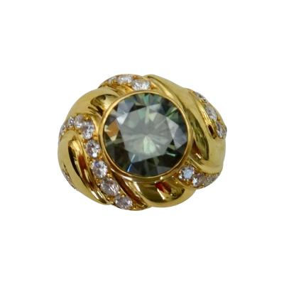 Michael Kneebone Michael Kneebone Green Zircon Pave Diamond 18k Gold Dome Ring