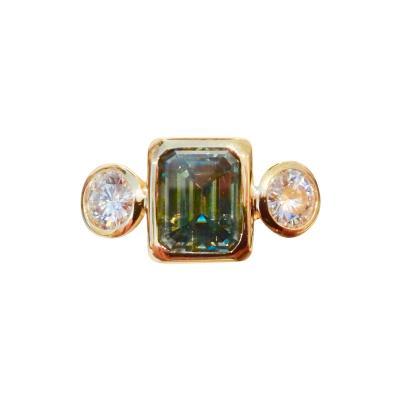 Michael Kneebone Michael Kneebone Green Zircon White Sapphire Three Stone Leah Ring