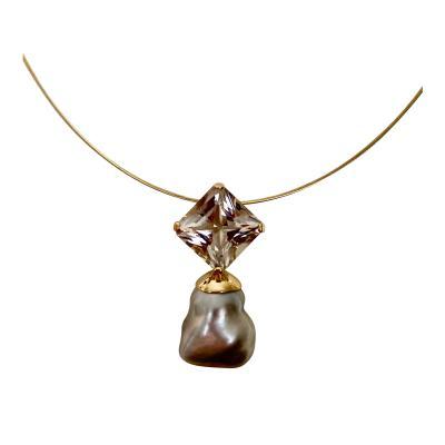 Michael Kneebone Michael Kneebone Herkimer Diamond Tahitian Pearl Drop Pendant