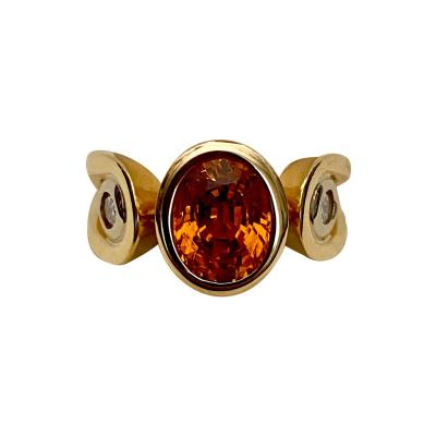 Michael Kneebone Michael Kneebone Hessonite Garnet White Diamond Three Stone Ring