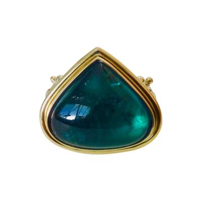Michael Kneebone Michael Kneebone Indicolite Tourmaline Cabochon Diamond Cocktail Ring