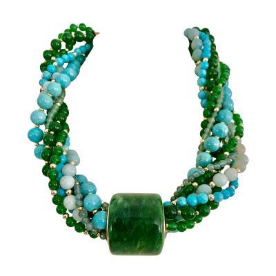Michael Kneebone Michael Kneebone Jadeite Archers Ring Multi Gemstone Bead Torsade Necklace