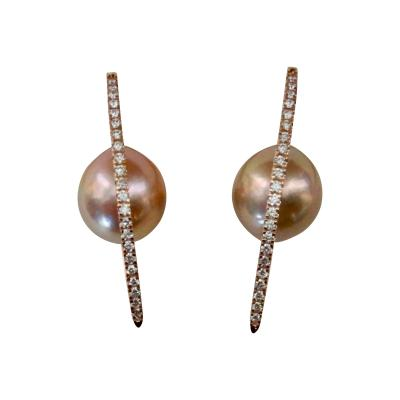 Michael Kneebone Michael Kneebone Kasumi Pearl Diamond Rose Gold Broken Hoop Earrings