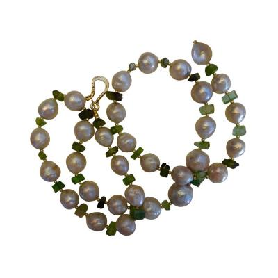 Michael Kneebone Michael Kneebone Kasumi Pearl Raw Green Tourmaline Necklace