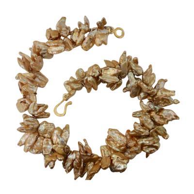 Michael Kneebone Michael Kneebone Khaki Colored Petal Pearl Double Strand Torsade Necklace
