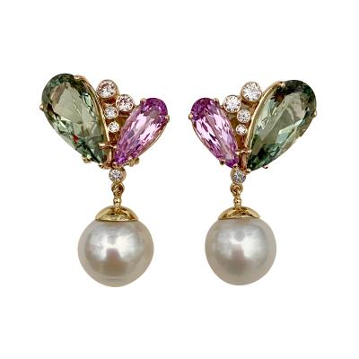 Michael Kneebone Michael Kneebone Kunzite Hiddenite Diamond South Seas Pearl Dangle Earrings
