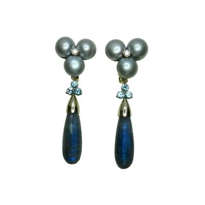 Michael Kneebone Michael Kneebone Labradorite Zircon Gray Pearl Diamond Dangle Earrings