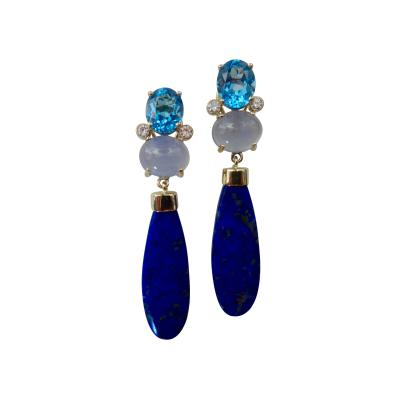 Michael Kneebone Michael Kneebone Lapis Lazuli Blue Topaz Chalcedony Diamond Dangle Earrings