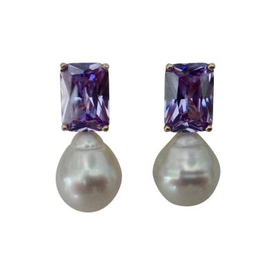 Michael Kneebone Michael Kneebone Lavender Zircon Paspaley South Seas Pearl Drop Earrings