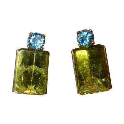 Michael Kneebone Michael Kneebone Lemon Citrine Blue Topaz Geometric Drop Earrings