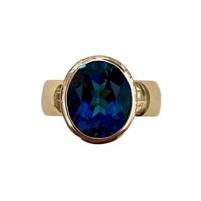 Michael Kneebone Michael Kneebone London Blue Topaz 18 Karat Yellow Gold Leah Ring