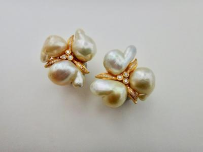 Michael Kneebone Michael Kneebone Maluku Pearl White Diamond Cluster Earrings